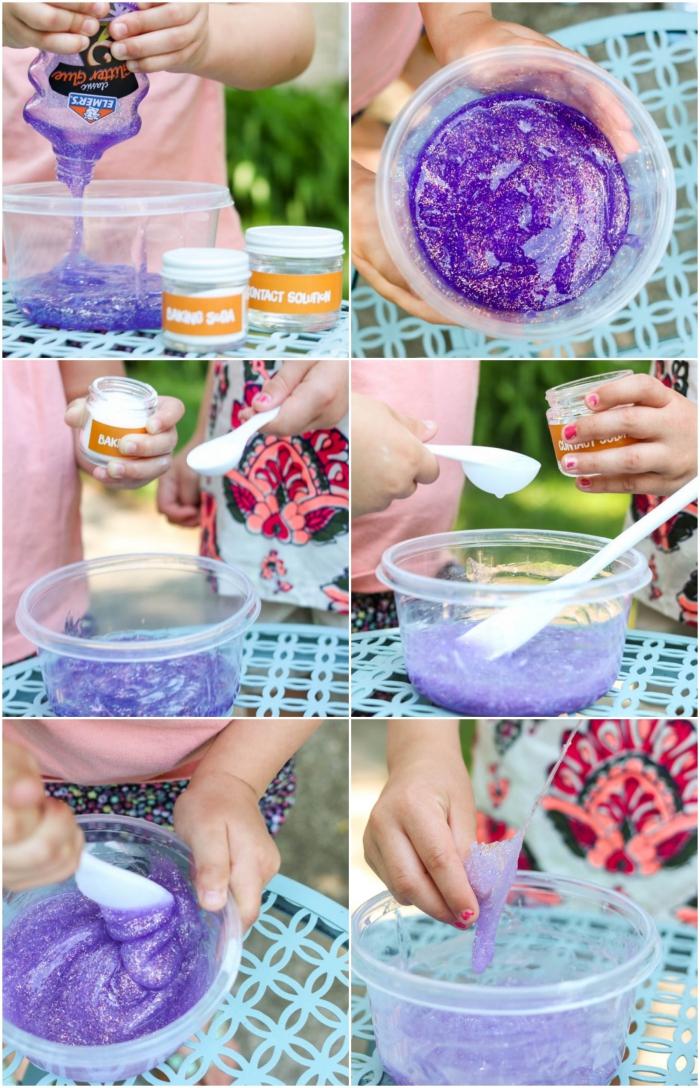 kleber, schüssel, sachtel, wasser, lila lebensmittelfarbe, schleim selber machen eine idee