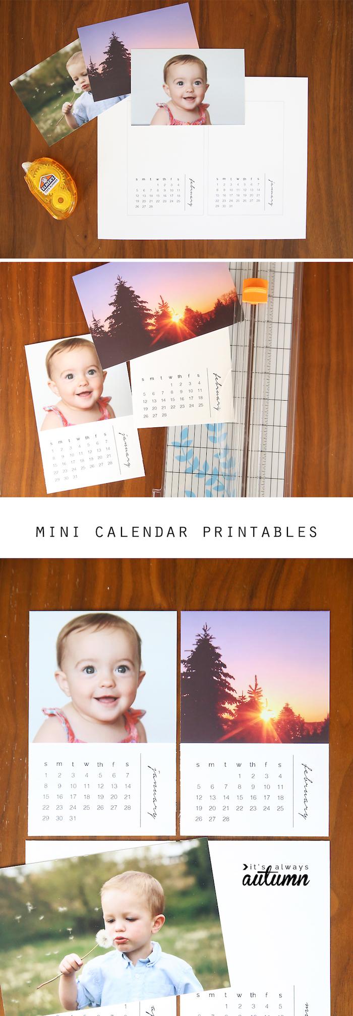shcnelle mutterstagsgeschenke basteln, kalender mit fotos, einfach und schnell, günstig