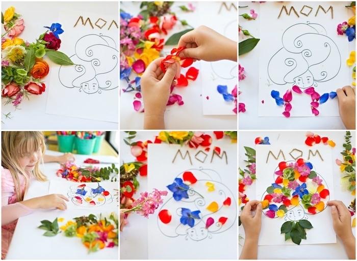 schnelle mutterstagsgeschenke basteln mit kinder, karte zum muttertag mit blüttenblätter dekorieren