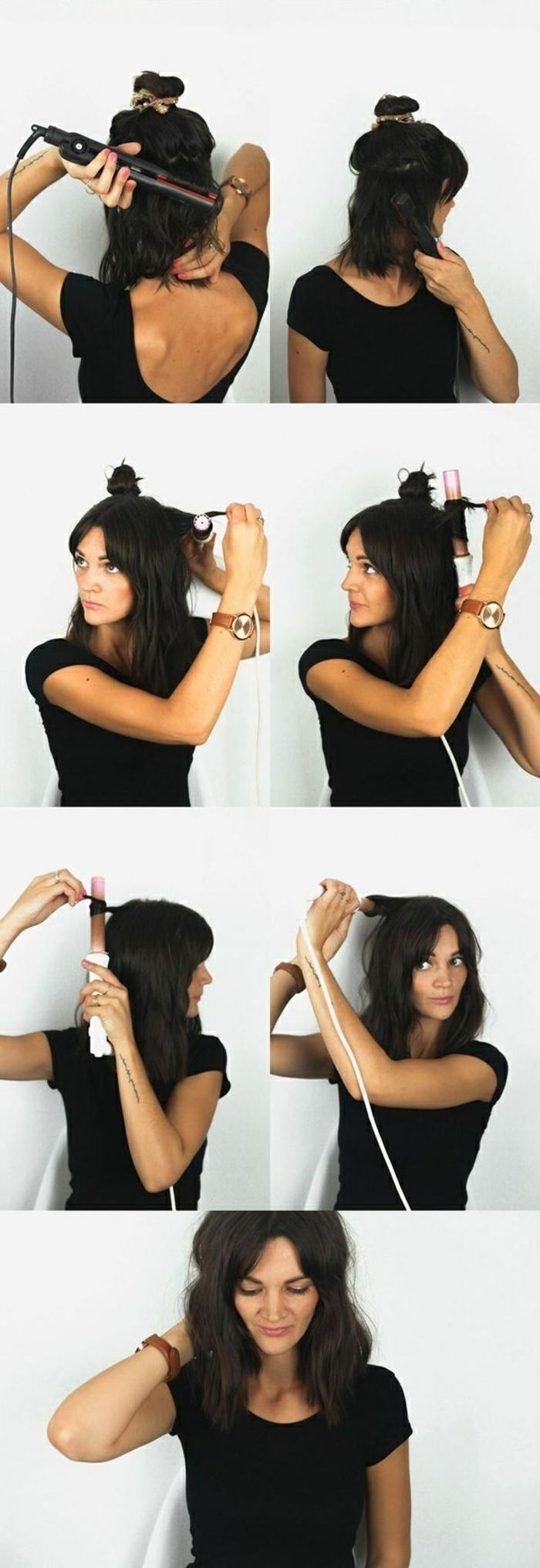 Langhaarfrisuren, schwarze Haare, ein Lockenstab zu Volumen, schwarze Haare, schwarzes Kleid