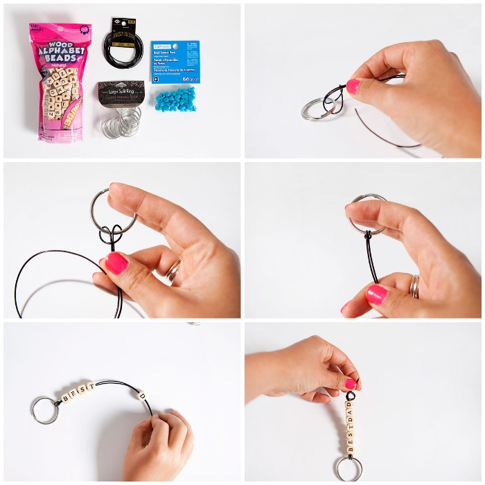 selbstgebastelte geschenke, vater, schlüsselanhänger, holzwürfel mit buchstaben, rosa nagellack