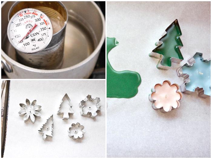selbstgebastelte geschenke für frauen, kerzen gießen, bienenwachs schmelzen, wasserbad, ausschtechformen, weihnachten
