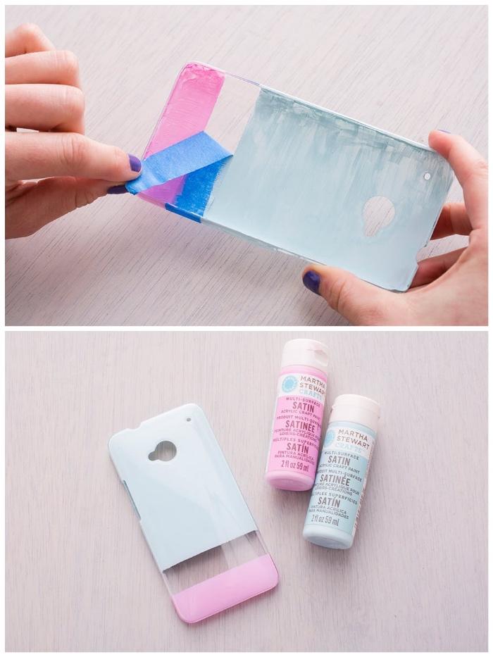 selbstgebastelte geschenke, handyhülle selber machen, rosa und blaue farbe, klebeband entfernen