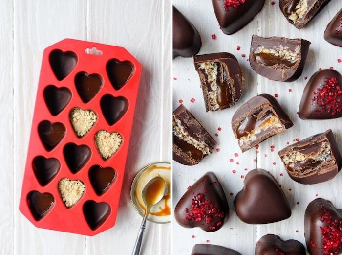 selbstgemachte geschenke zum 18 geburtstag, valantinstag, bonbons in form von herzen, pralinen rezept