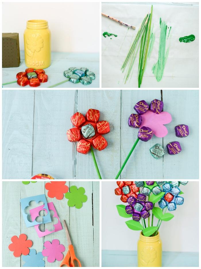 selbstgemachte geschenke zum 18 geburtstag, bemalten einmachglas, blumen mit blütenblätter aus pralinnen, blumenstrauß, bonbons