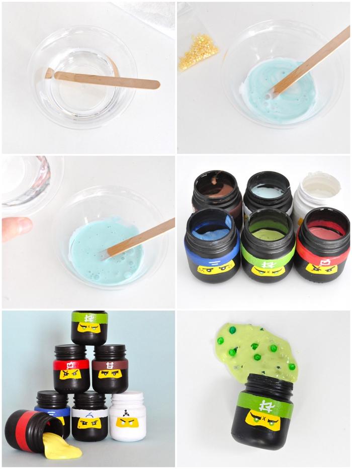 fluffy slime kaufen und damit spielen, gläser deko ideen, ninja glas, frohe kinder