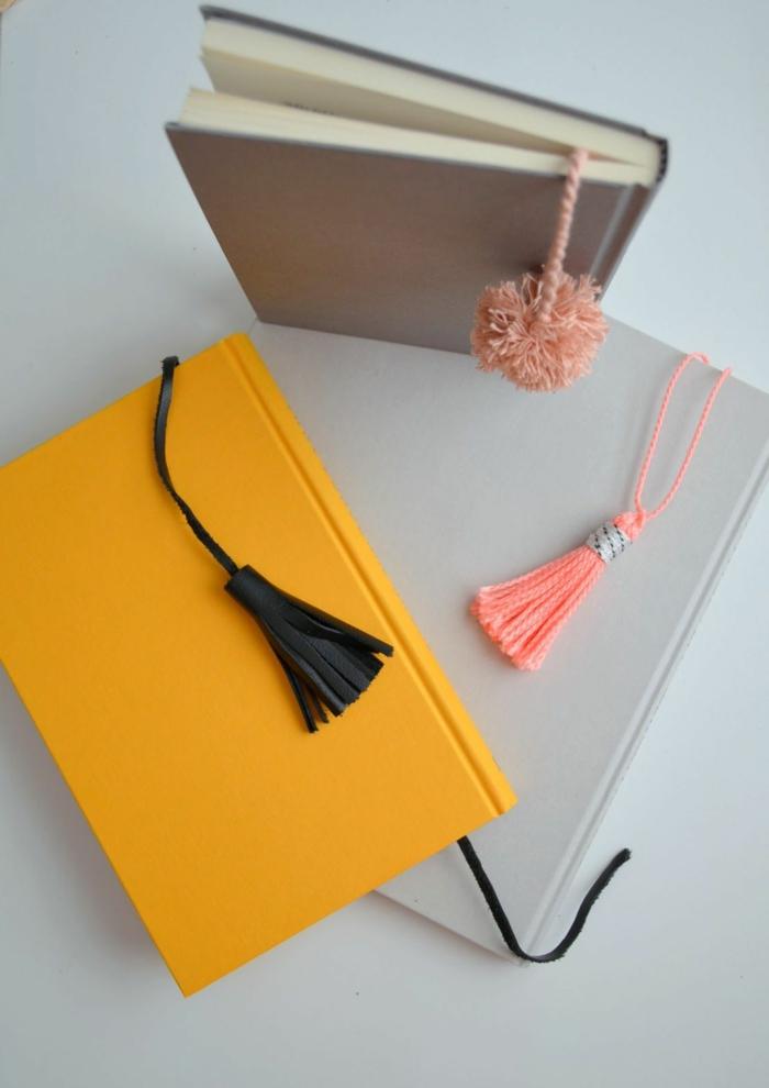 DIY Lesezeichen mit Quasten in verschiedenen Farben, Rosa, Schwarz und Beige
