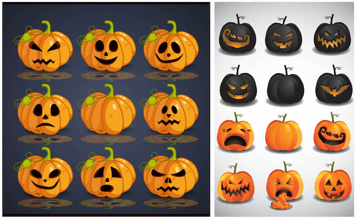 orange coole kürbisgesichter malen, halloween kürbisse mit großen schwarzen augen und kleinen schwarzen nasen und einige kleine schwarze kürbisse mit gruseligen kürbisgesichtern mit orangen augen