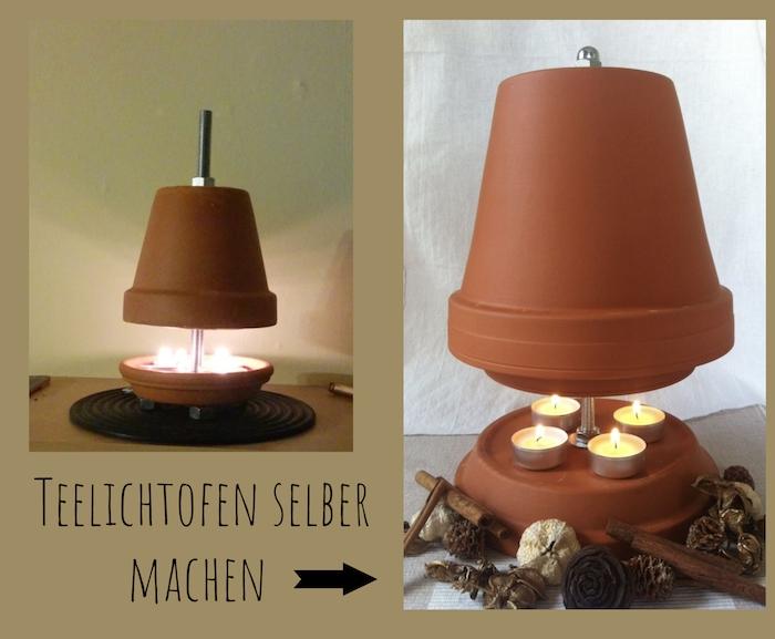 teelichtofen selber bauen, zwei teelichtöfen mit braunen blumentöpfen aus keramik und mit braunen tellern, dekoration mit braunen zapfen