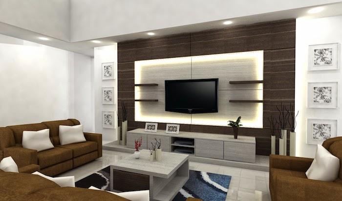 wohnzimmerwand ideen, fernsehwand mit led beleuchtung, dekoration mit bildern