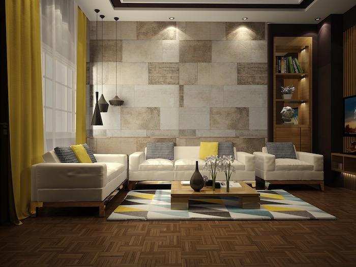 wanddeko wohnzimmer, hängelampen im rustikalem stil, grau und gelbe dekokissen, wand mit fliesen motiv