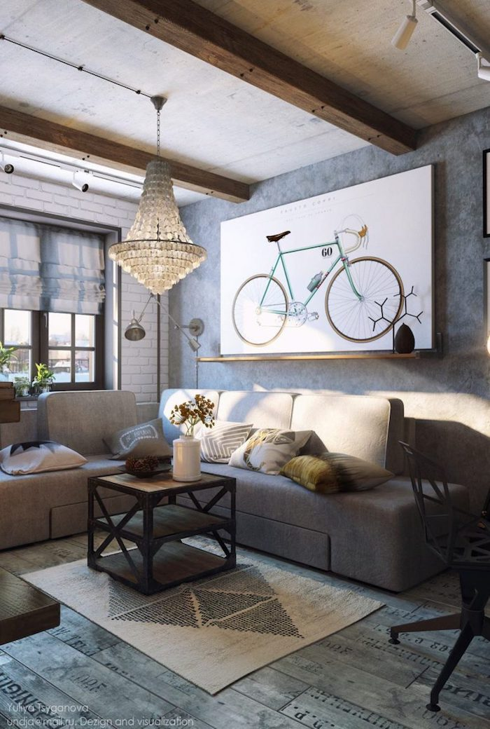 wanddeko wohnzimmer, kronleuchter aus kristall, großes bild mit fahrrad, einrichtungideen