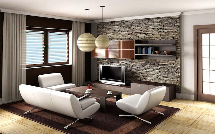 wanddeko wohnzimmer, wandtapete mit ziegel motiv, pendelleuchten mit lampenschirmen aus papier