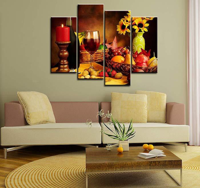 kleines sofa in zwei farben, wanddeko wohnzimmer, leinwandbild in vier teilen, runder teppich
