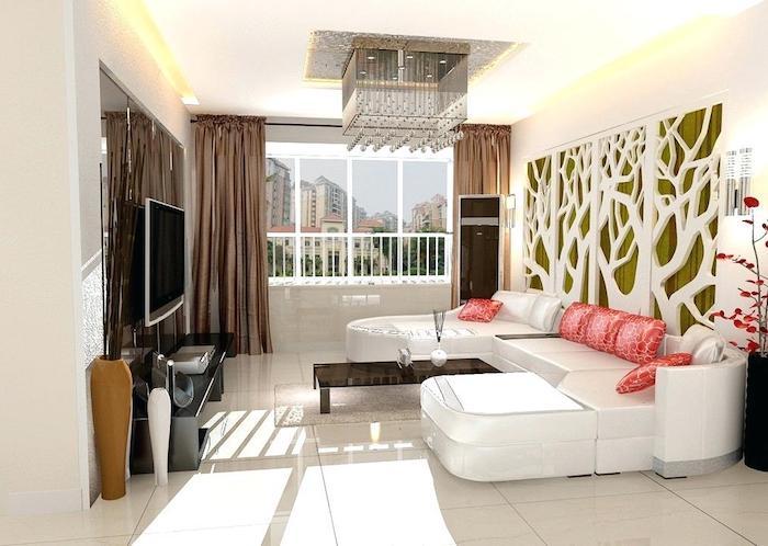 wanddeko wohnzimmer, kleines zimmer einrichten, 3d wand, braune gardinen, hängeleuchte