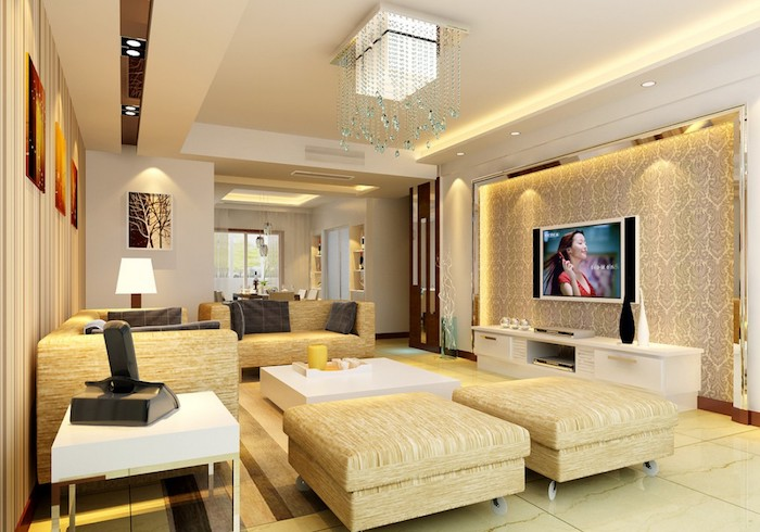 kleiner fernseher, tapette mit abstraktem muster und led beleuchtung, wanddeko wohnzimmer