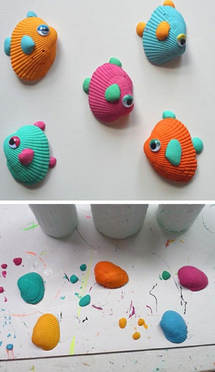 bastelanleitungen für kinder, deko ideen, muscheln bunt gestalten, fische mit kleinen augen, deko