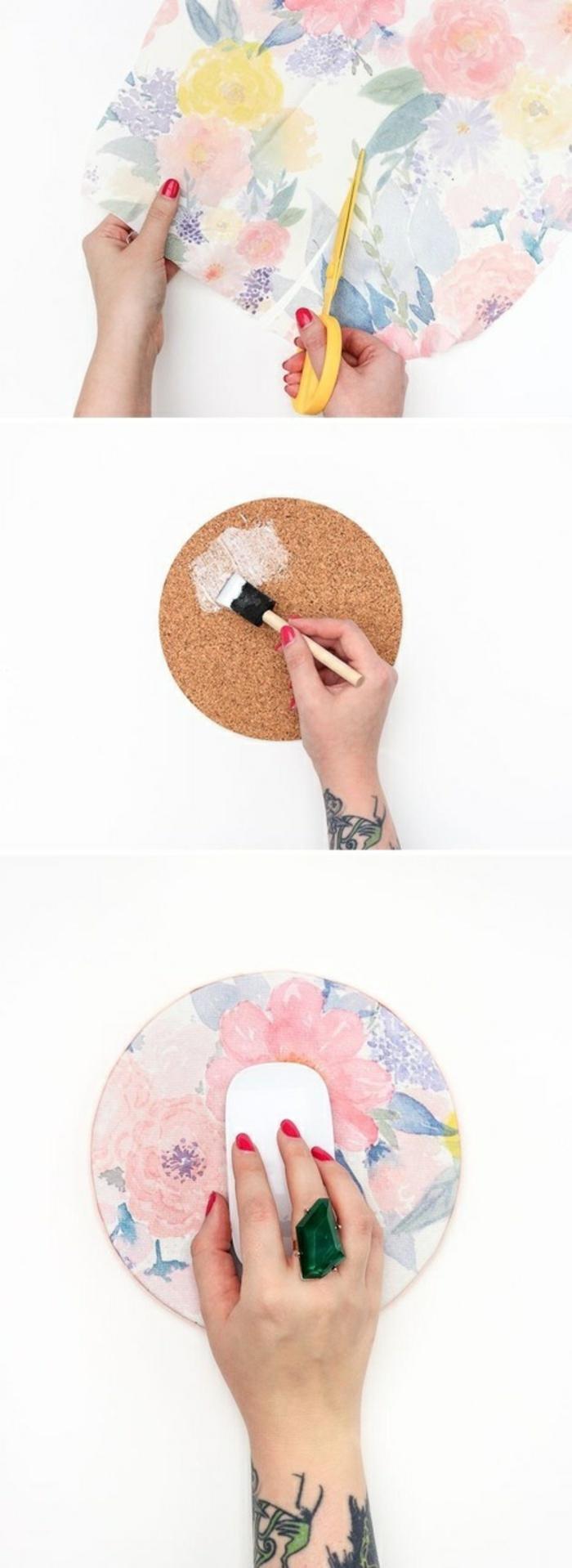 bastelanleitungen für kinder, deko ideen mit kork und farbe, bunte muster, maus deko