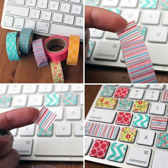 bastelanleitungen für kinder, deko ideen schöne muster, bunte sticker zum dekorieren von einer tastatur