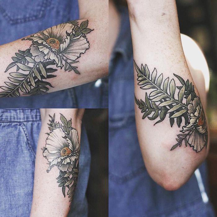 frauen tätowierungen ideen, eine hand mit einem großen watercolor tattoo mit grünen blättern und großen weißen blumen
