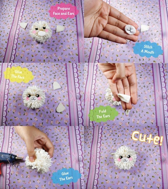 das zweite Teil der Anleitung, wie Sie ein Pompon Tierchen selber machen, Pompon Deko