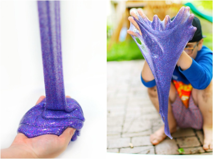 wie macht man schleim, bilder rezepte und ideen, kinder spielen mit lila farbe schleim