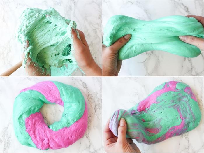 bunte idee in minzengrün und rosa, wie macht man schleim kreativ und schön
