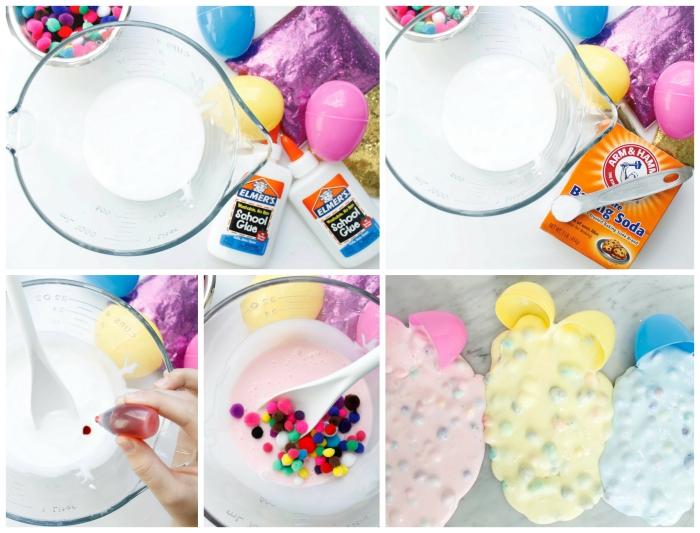 slime ohne kleber, eine kreative idee mit bunten dekorationen, perlen, konfetti, collage