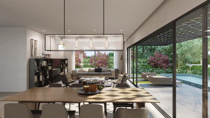 esszimmer und wohnzimmer deko ideen, große pendelleuchte über dem esstisch, garten
