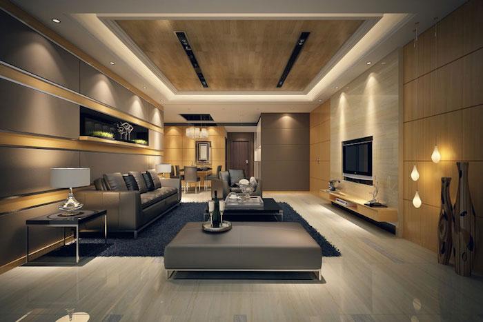 wohnzimmer deko ideen, schwarzer teppich, hängenden glühbirnen, led beleuchtung, fernseewand