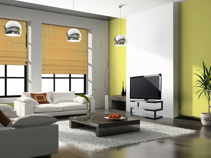 wohnzimmer deko ideen, grüner wand als farbakzent, kleines weißes sofa, flauschiger teppich