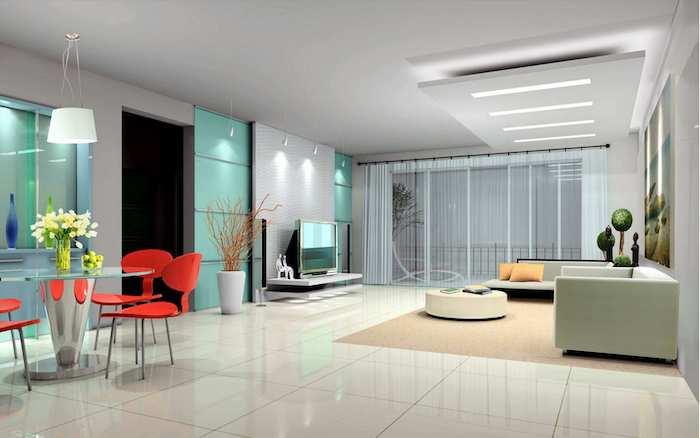 wohnzimmer deko ideen, rundes esstisch aus glas, vier rote stühle, große keramikfliesen