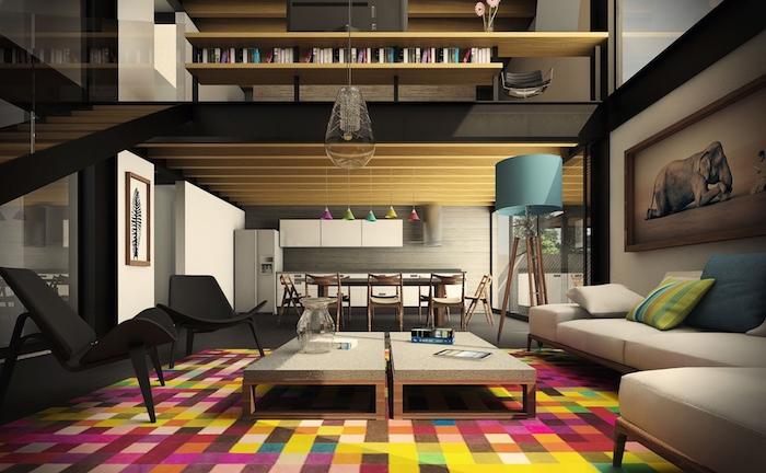 wohnzimmer einrichten, bunter teppich als farbaktzent, zwei gleich große kaffeetische, bild mit elefant