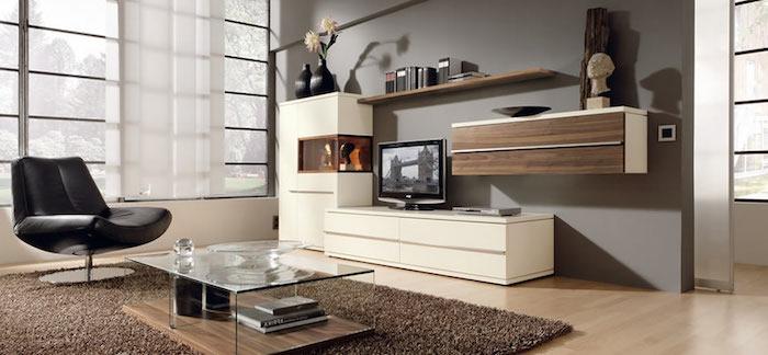 wohnzimmer einrichten, schwarzer sessel, kaffeetisch aus holz und glas, schränke in weiß und braun