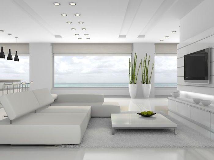 wohnzimmer einrichten, herrliche aussicht, grüne pflanzen, designer möbel, fernsehwand