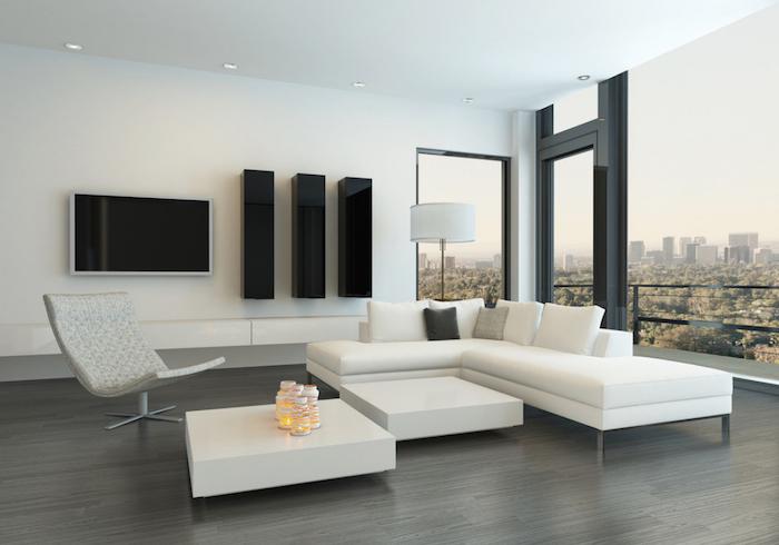 wohnzimmer ideen für kleine räume, schöne aussicht, minimalistisches design, moderne einrichtung