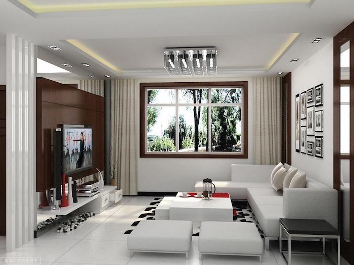 wohnzimmer ideen für kleine räume, weißes ecksofa, keramikfliesen, rote dekoartikel als farbakzent