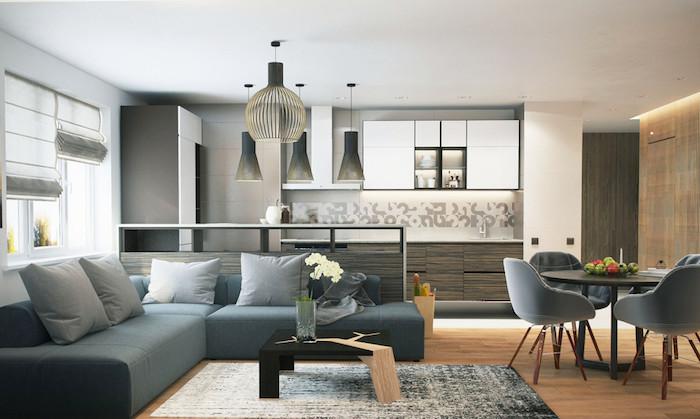 wohnzimmer ideen für kleine räume, graues ecksofa, runder esstisch mit vier stühlen
