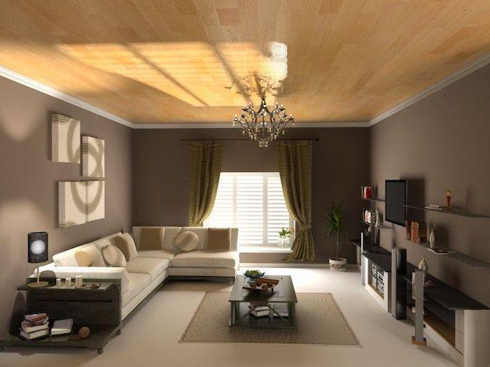 wohnzimmer ideen für kleine räume, decke mit parkett, kronleuchter, vier leinwandbilder