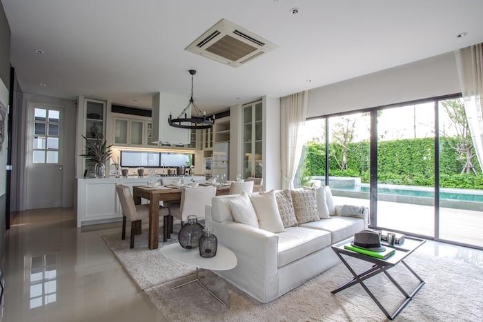 wohnzimmer ideen für kleine räume, keramikfliesen, küche und wohnzimmer in einem