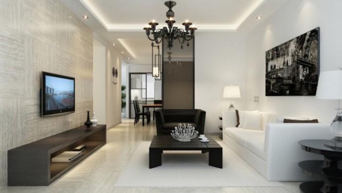 schwarzer kronleuchter, einrichtung in schwarz und weiß, wohnzimmer ideen für kleine räume