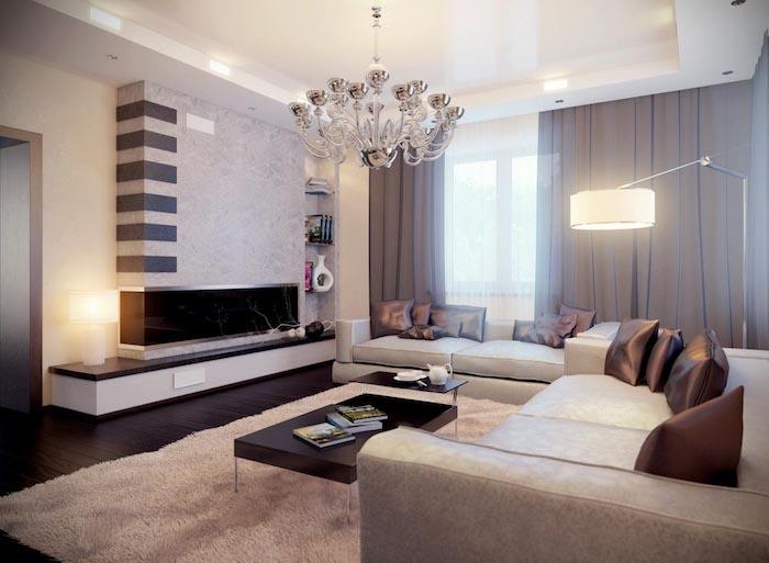wohnzimmer ideen für kleine räume, kaffeetisch aus holz mit beinen aus metall flauschiger teppich