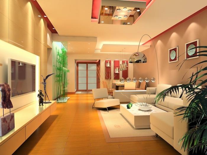 wohnzimmer ideen, bambus hinter glaswand, einrichtung in asiatischem stil, pflanzen