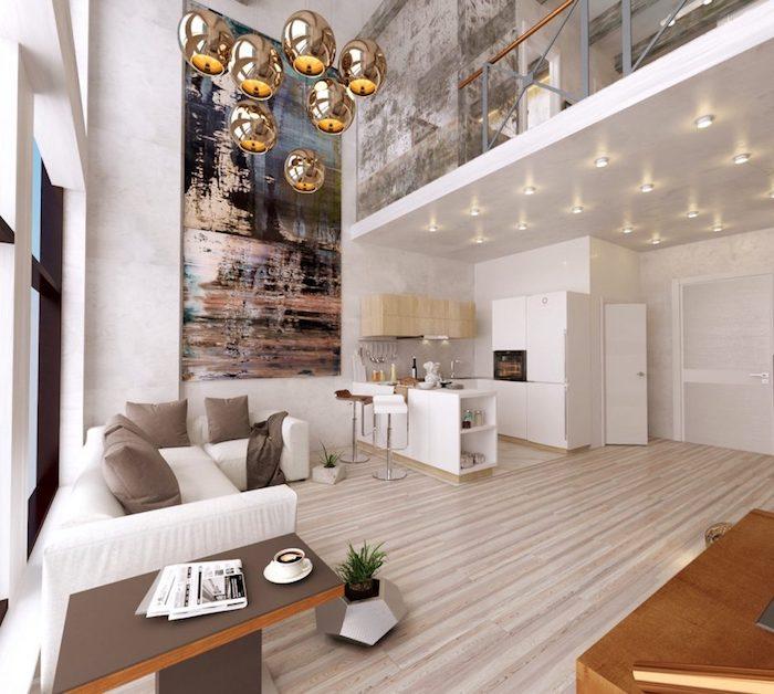 wohnzimmer ideen, runde chromierte pendelleuchte, kleine wohnung einrichten, großes bild