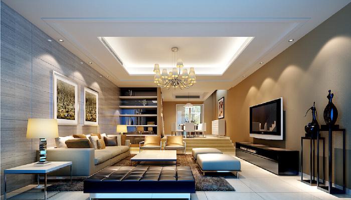 wohnzimmer ideen, einrichtung in naturfarben, decke mit led beleuchtung, kronleuchter