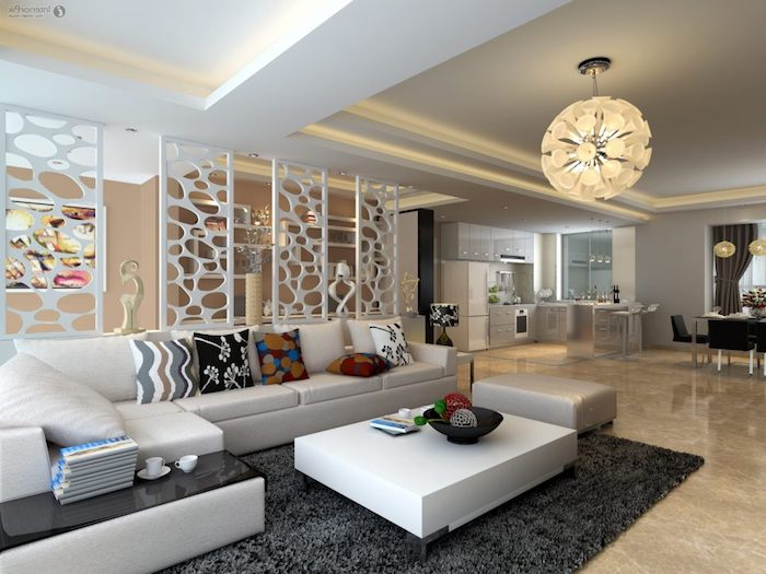 wohnzimmer gestalten, hängelampe mit rundem lampenschirm, vier weiße trennwände