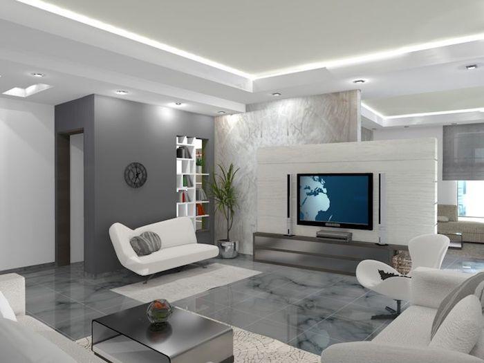 wohnzimmer gestalten, fernsehwand, graue fliesen mit marmor muster, weiße sitzmöbel