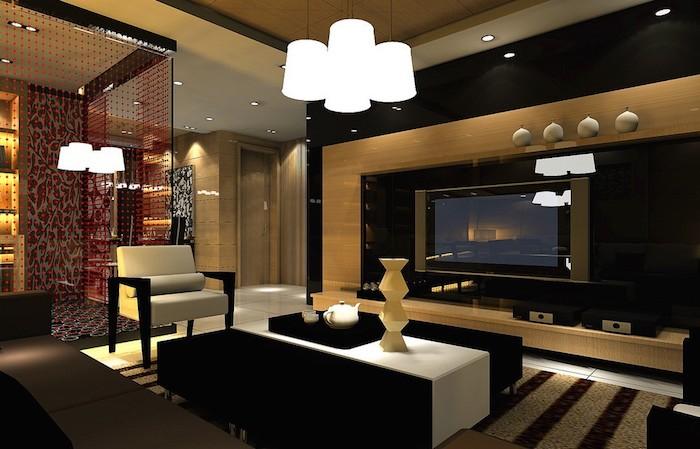 wohnzimmer gestalten, hängende led lampen, großer kaffeetisch, geometrische vase