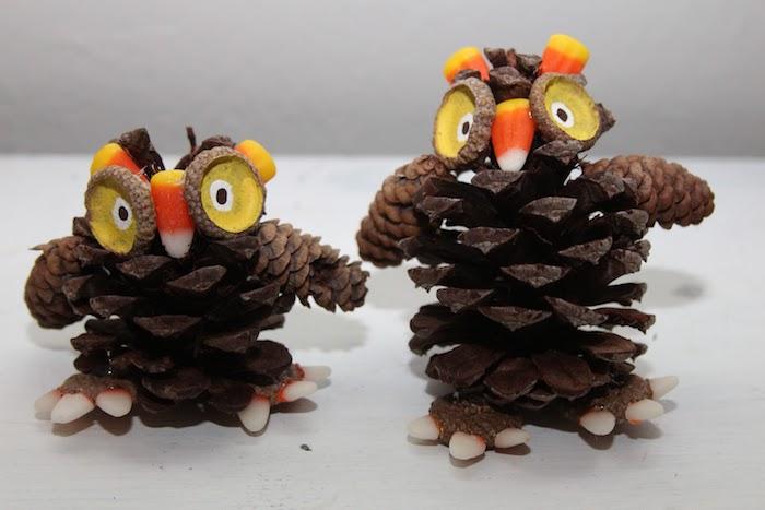 zwei kleine braune eulen aus tannenzapfen und mit großen gelben augen und ein weißer tisch, basteln mit tannenzapfen weihnachten