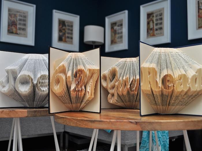 zwei tische aus holz und eine weiße lampe, wände mit bildern mit weißen bilderrahmen, bücher falten . buchstaben anleitung